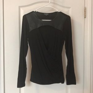 Bebe black top with leather accent